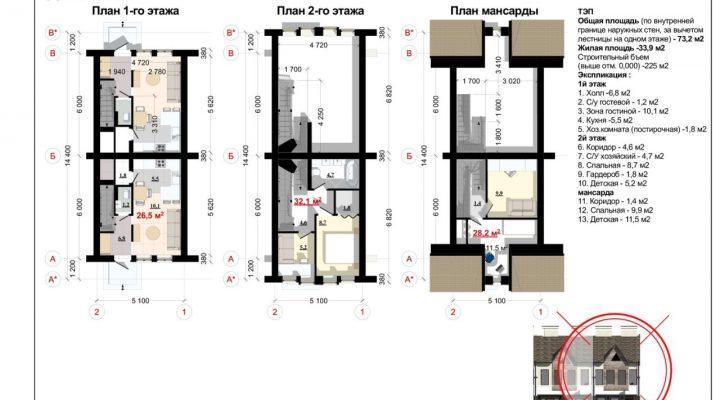 Таунхаус в Софиевской Борщаговке 74 кв.м. с центральными коммуникациями floorplan 1