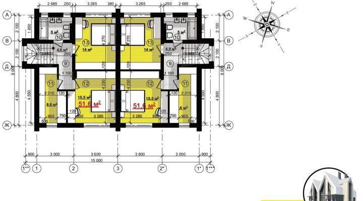 Купить дуплекс в Софиевской борщаговке ЖК София с центральной канализацией. 600 метров Киев floorplan 2